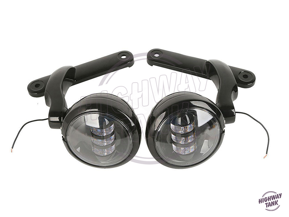 4.5'' Black Motorcycle LED Auxiliary Fog Passing Lights+ Housing Bucket Brackets case for Harley