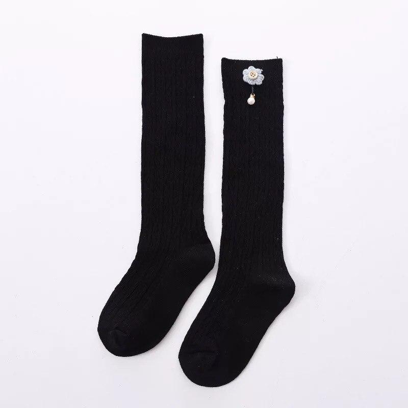 Cute Kids Knee High Socks for  Girls Baby Girls Exquisite Flower Cotton Princess Long Sock Children's Leg Warmer 1-5 Years 5