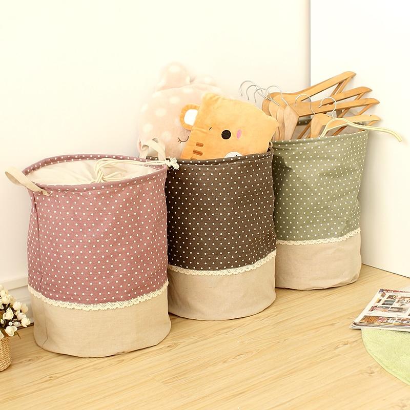 Zakka 3 Ukuran port balok Linen multi-fungsi Menangani Stackable kotak penyimpanan Laundry cucian Toy Storage