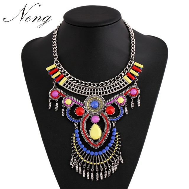 Collares 2017 Ethnic Statement Necklace Vintage Women Colorful Stone Choker Dress Maxi Colar Boho Jewelry Free Shipping N1254