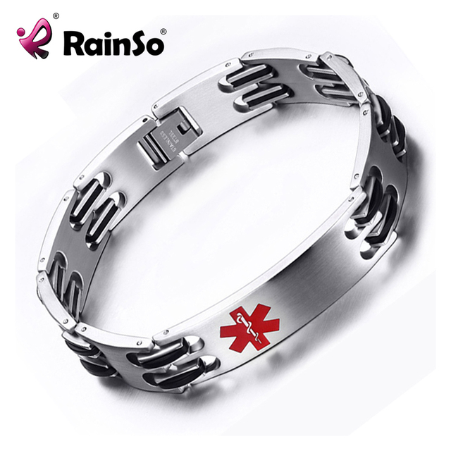 2018 New Diabetes Medical Bracelet For Men Women Stainless Steel Logo Bangles Bracelets