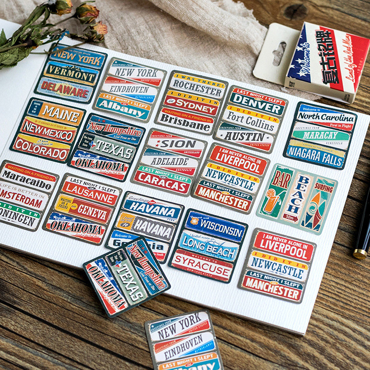 45pcs/Lot Cute Vintage City Name Plate Stationery Stickers Kawaii Stickers For Kids Student Gift School Stationery For Planner