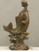 Copper Crafts decoration Fine Buddha Brass Chinese China Folk HandMade Old Brass Bronze Statue Lucky Carp Koi Sculpture
