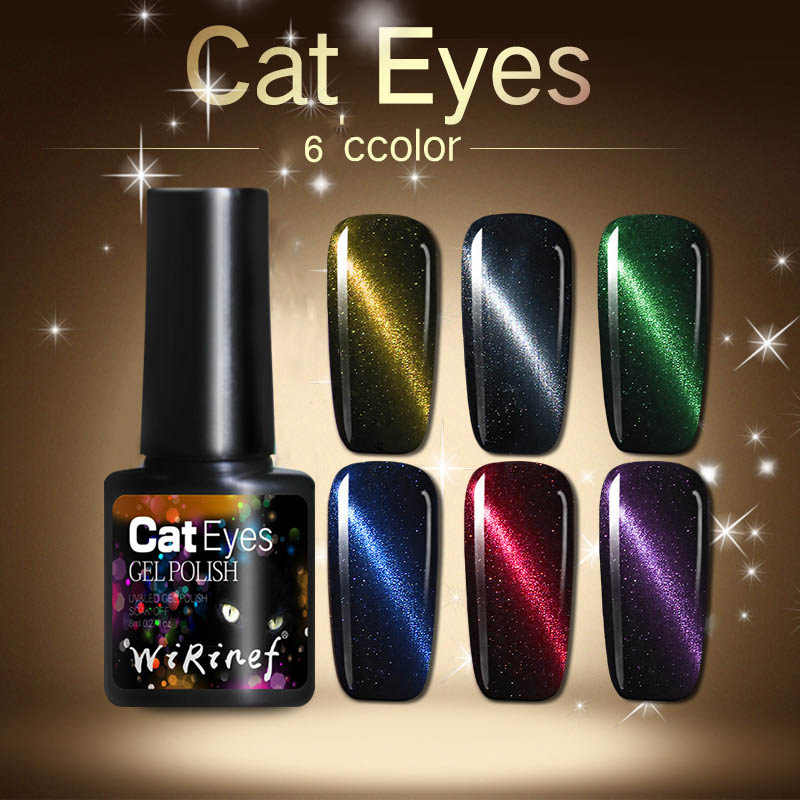 WiRinef Magie 5D Katze Auge Nagel Gel 5ml Magnetische Weg Tränken UV Gel Lacke Starry Sky Jade Effekt Lack schwarz Basis Benötigt TSLM2