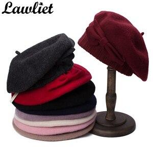 Image 4 - Lawliet נשים כומתת חורף כובע 1920s שיק סגנון 100% מבושל צמר קשת פרטים חורף כפת Skullies הבסקים צרפתית אמן מצנפת