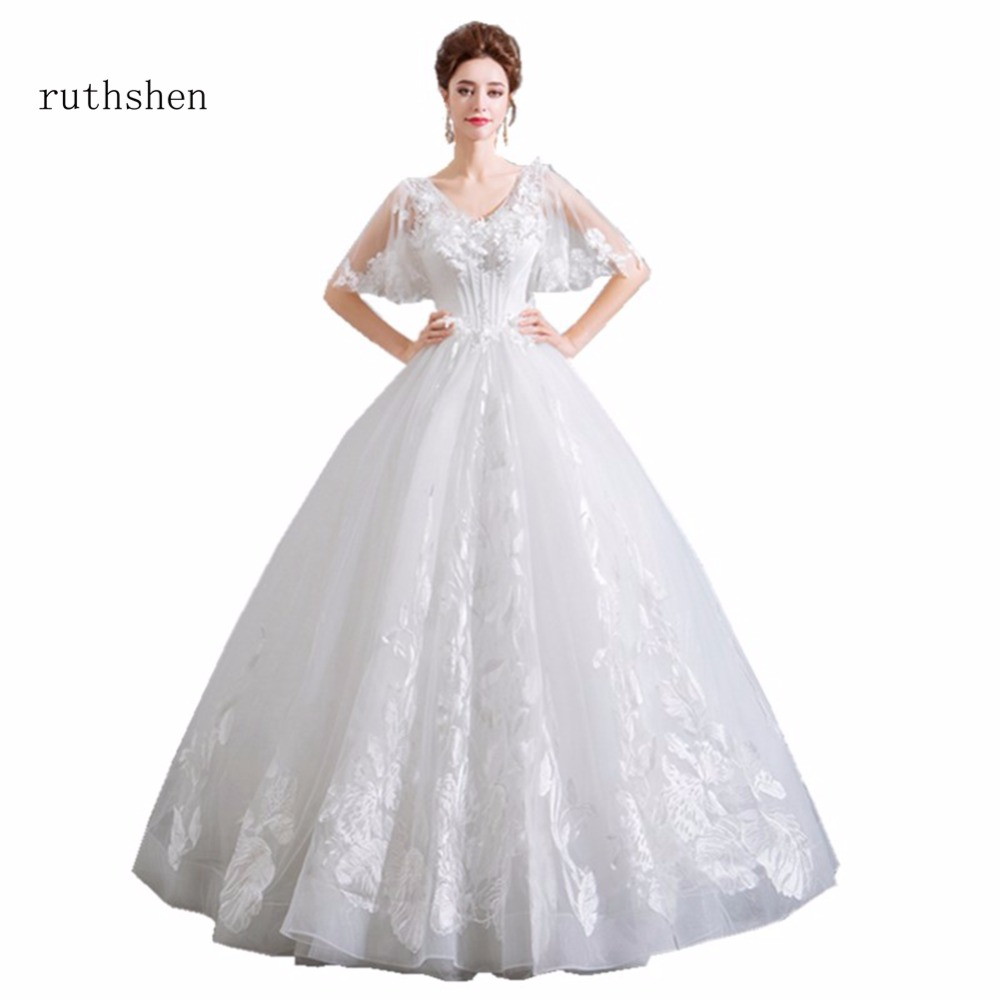 Wedding Gowns With Cap Sleeves: Ruthshen Princess 2018 Ball Gowns Real Photo Wedding Dress