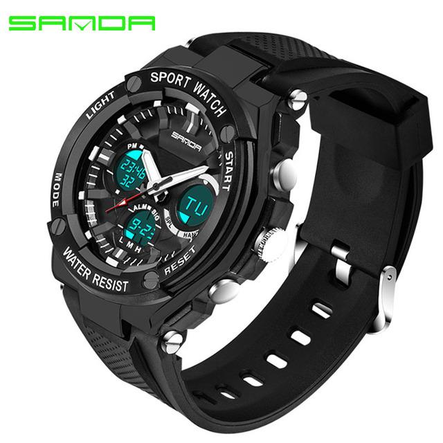 SANDA 733 Sport Watch Men Waterproof Top Brand Luxury Digital Quartz Wristwatch