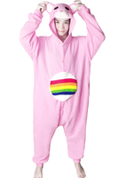 Designer Cartoon Anime Animal RAINBOW BEAR Care Bears Pink Adult Unisex Onesie Animal Pajamas Cosplay Winter Party Costumes