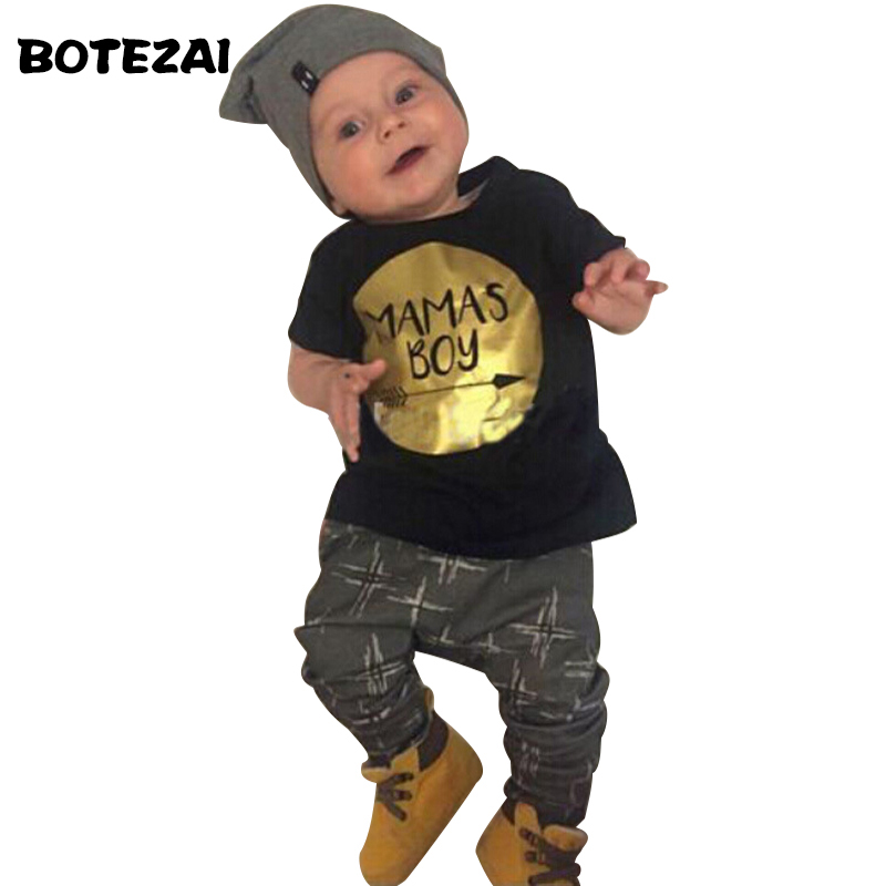 New 2017 Summer Baby boy clothes fashion cotton short sleeve letter t-shirt+pants baby boys clothing set infant 2pcs suit t shirt tops cotton denim pants 2pcs clothes sets newborn toddler kid infant baby boy clothes outfit set au 2016 new boys