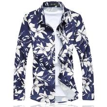2017 Hombres de La Camisa Floral Camisas Para Hombre M-5XL 6XL 7XL C6140 Camisas Sociales Masculina Camisas Hombre Vestir