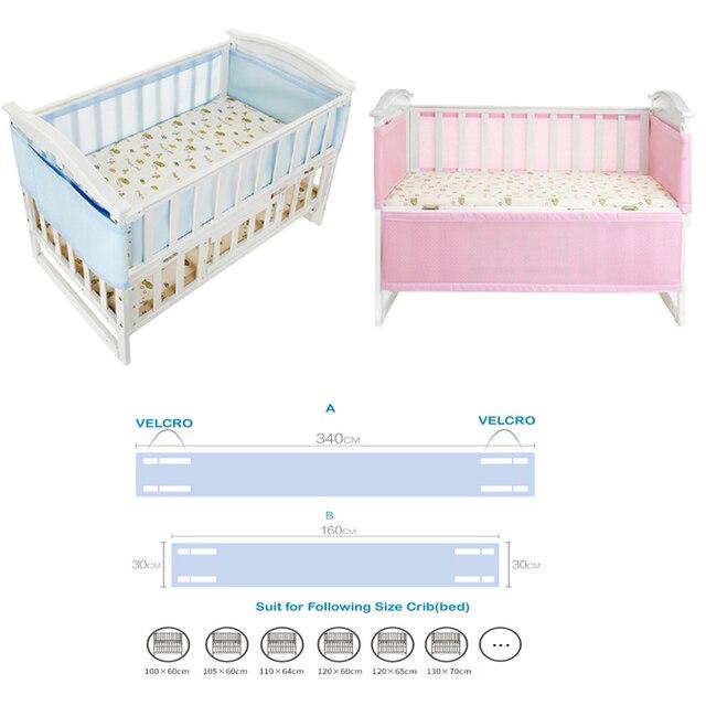 Atmungsaktives Mesh Stoßstange Krippe Liner Baby Bettwäsche Waschbar