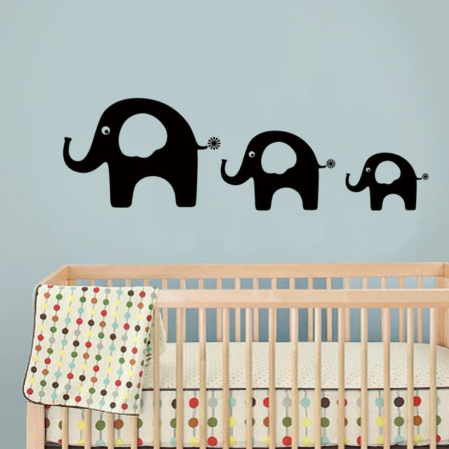 Elephant Vinyl Wall Sticker Kids Room Decal Baby Nursery Art Dad Mom And