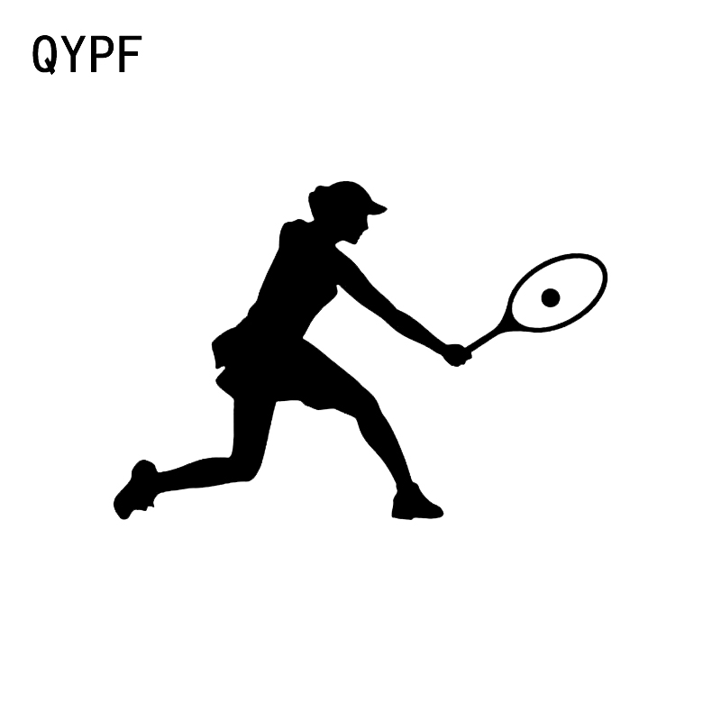 QYPF 14*9.6CM Interesting Female Tennis Player Decor Car Sticker Vinyl Extreme Movement Graphic C16-1593