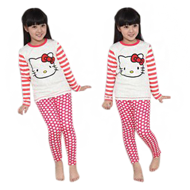 192d1f9be Cartoon Hello Kitty Kids Pajamas Children Nightwear Girls Clothes Sets Baby  Sleepwear Cotton Dots Striped Suits Girl Pijama