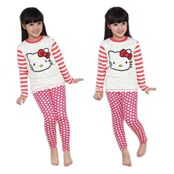 3ff30a8db Dibujos Animados Hello Kitty niños pijamas niños niñas ropa de dormir ropa  Conjuntos Bebé Ropa algodón puntos rayas trajes Pijama