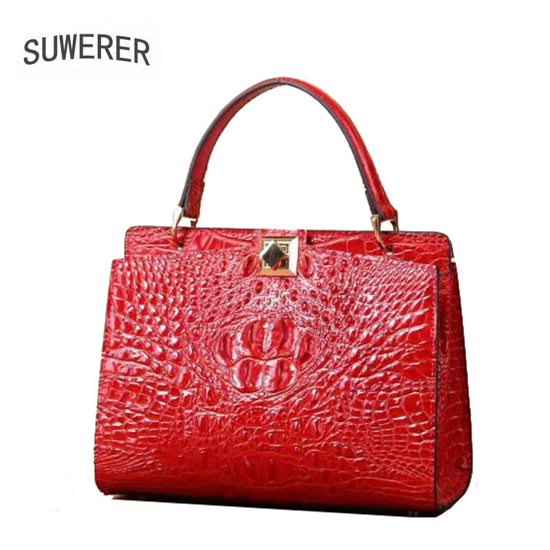 SUWERER 2019 New cowhide women genuine leather bag Embossed crocodile pattern Fashion schoudertas dames luxury leather bag in Top Handle Bags from Luggage Bags