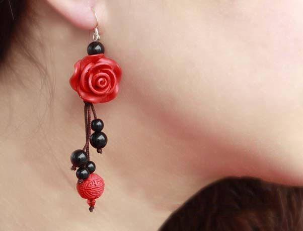 Lacquer engraving red Rose and Natural black Agate, Handmade Chinese style Earrings +free shipping