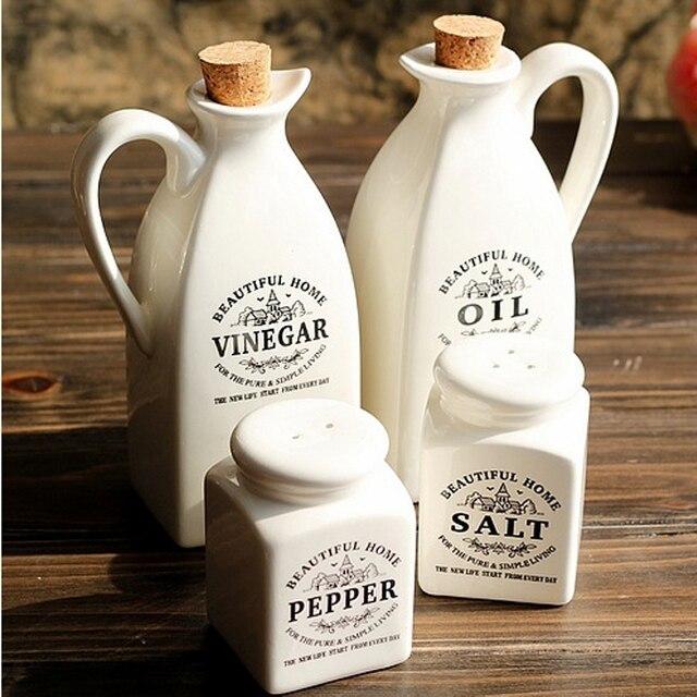 Free Shipping Zakka pure white japanese style ceramic oil bottle seasoning bottle piece set kitchen supplies sauce pot