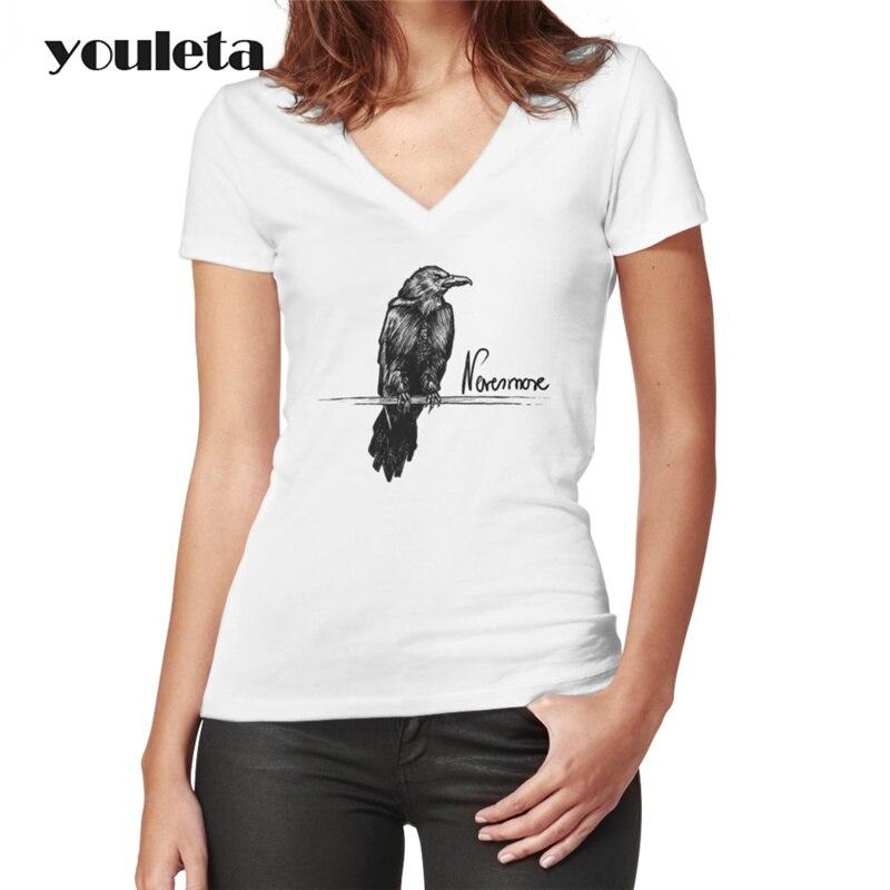 2018 Women Sexy Summer T-shirt Edgar Allan Poe Short Sleeve T Shirt Women Tee Shirt Female Causal Tops