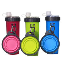2 in 1 Portable Pet Water Food Container with Folding Silicone Dog Bowls Outdoor Travel Cat Supplies Feeder Cup Bottle