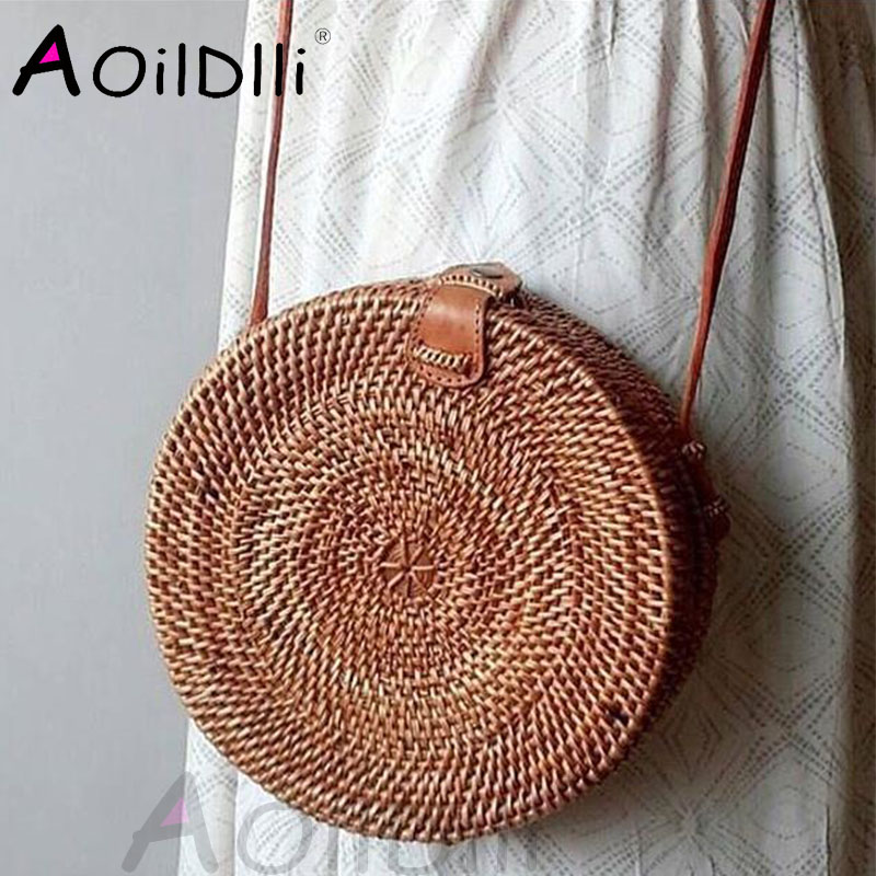 travel-beach-circle-pu-leather-shoulder-bag-summer-straw-bag-sunflowe-knitted-rattan-bag-lady-handbag-crossbody-bag
