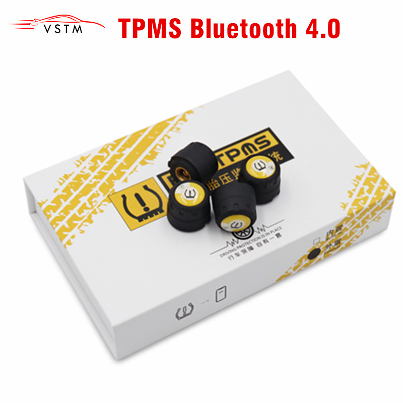 TPMS Bluetooth 4.0 universal external tyre pressure sensor support IOS Android phone Tire Pressure Sensor Easy Install-in Tire Pressure Alarm from Automobiles & Motorcycles