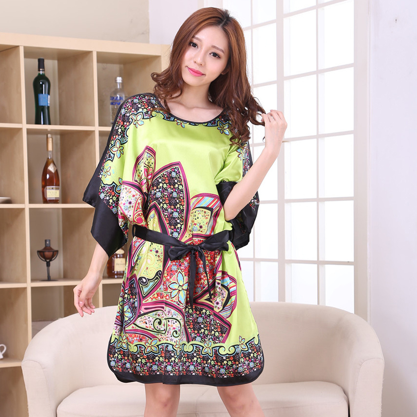e2babce764a Plus Size Vintage Print Chinese Women Rayon Nightgown Sexy Robe Dress Gown  Sleepshirt Lounge Floral Kimono Kaftan Gown TS006-in Robes from Women s  Clothing ...