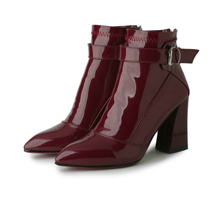 4cbd461e7b1 US $24.86 55% OFF|QUTAA Burgundy Pointed Toe PU Patent Leather Women Shoes  Zipper Square High Heel Ankle Boots Women Motorcycle Boot Size 34 43-in ...