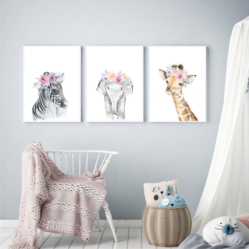 HTB1wV9cXvvsK1Rjy0Fiq6zwtXXao Animals Floral Crown Art Decor Canvas Painting , Baby Girl Prints Animal Giraffe Elephant Lion Wall Art Picture Nursery Poster