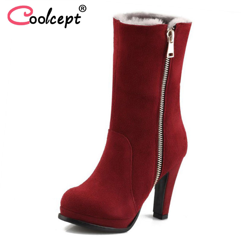 Coolcept Women High Heel Boots Genuine Leather Warm Shoes Side Zipper Half Short Botas Plush Fur Winter Footwear Size 34-40Coolcept Women High Heel Boots Genuine Leather Warm Shoes Side Zipper Half Short Botas Plush Fur Winter Footwear Size 34-40