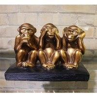 Three Wise Monkeys Statues Art Orangutan Figurine Animal Resin Crafts European Style Home Decorations Ornaments R1391