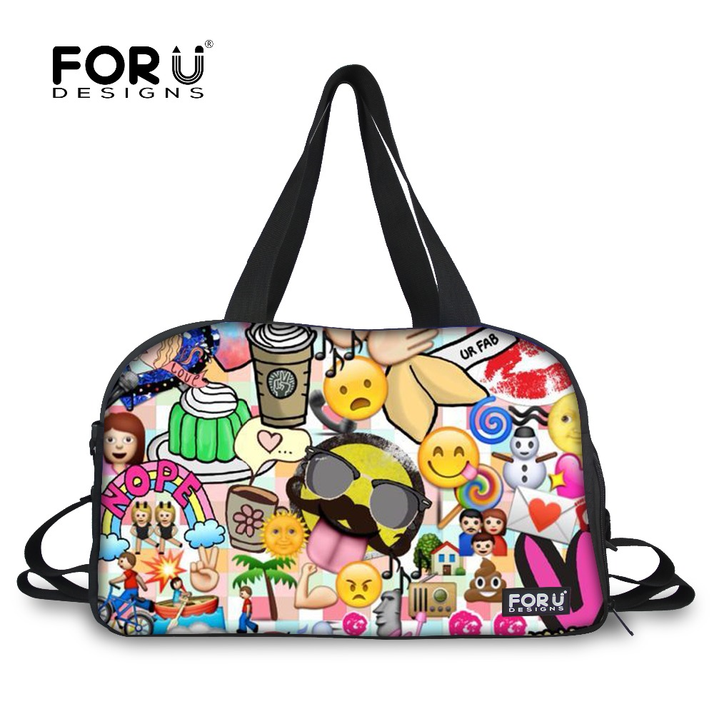 FORUDESIGNS Luggage Bag Women Travel Bag Emoji Duffel Large Capacity Female  Travel Duffle Bag Tote Canvas Weekend Bags Handbag 056dc3f86d2e6