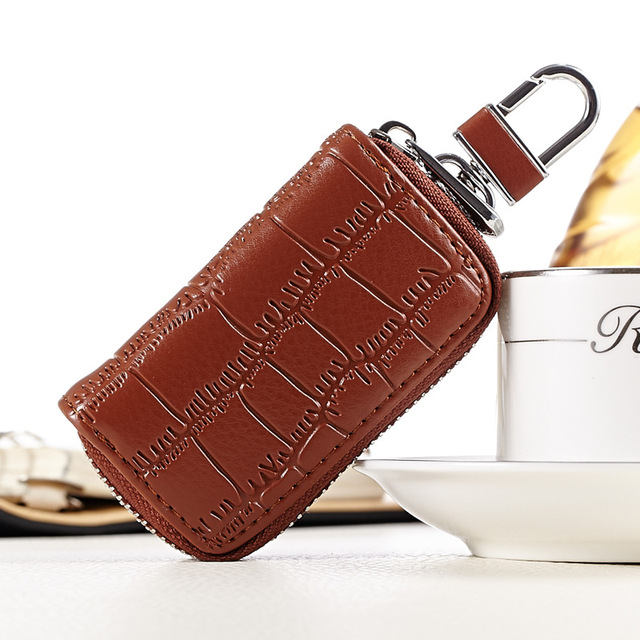 Premium Crocodile Embossed Genuine Leather Car Key Bag Zipper Men Key Wallets Business Affairs Buckle Car Remote Control Package