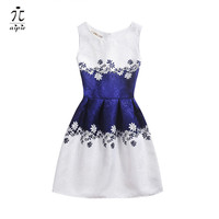 Promotion New Style 2016 Summer Children Girls Dresses European And American Style Print Pattern A Line