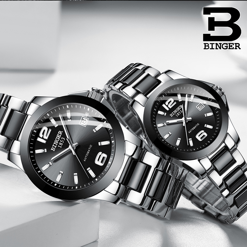 Simple Fashion Men Automatic Watches Self-winding Lovers Ceramic Watch Bracelet Calendar Wrist Watch Analog Women Business Watch