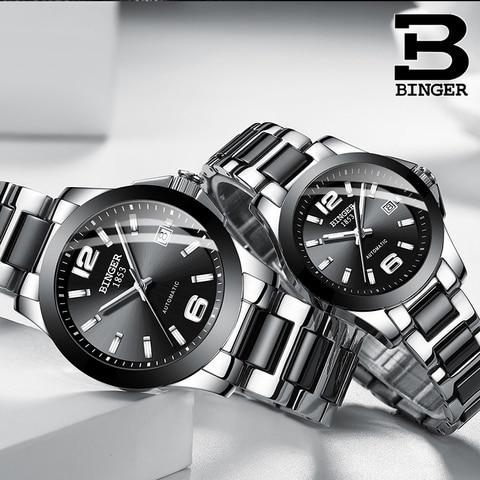 Amantes de Cerâmica Pulseira de Relógio de Pulso Relógio para Mulheres de Negócios Simples Moda Masculina Calendário Relógios Automáticos Auto-liquidação Analógico