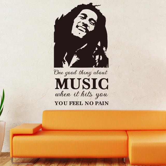 Bob Marley Sketch Music Feel No Pain Quotes Wall Stickers For Bedroom Kitchen Vinyl Decoration Poster