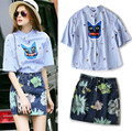 Women Clothing Set Lovely Woman 2 Piece Top Set Shirt Blouse Skirt Suits Fashion Floral Print Denim Skirts Lady Set NS318