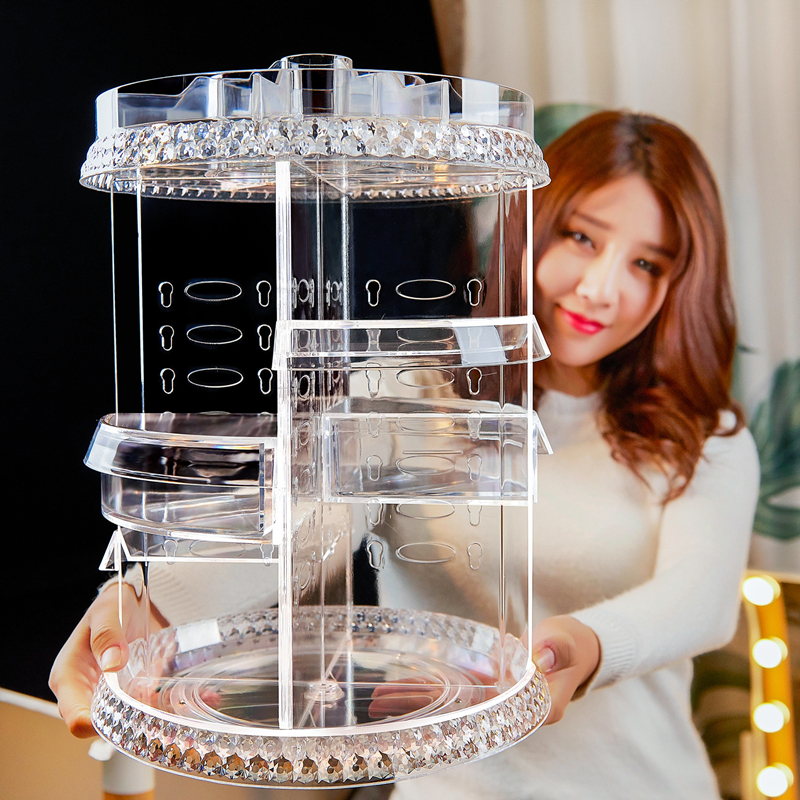 New Large Cosmetic Drawer Storage Box Dressing Table Makeup Organizer Lipstick Rack Rotating Acrylic Transparent Plastic