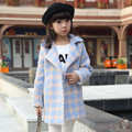 Girls outerwear Kids overcoat Children hound's-tooth check coat Girl warmed for winter thick tops Quilted lining long coat