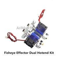 3D printer parts V6 remote Extruder fisheye effector dual head hotend full Kit 1.75/0.4