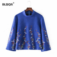 BLSQR Women Floral Embroidery Velour Warm Shirts Stand Collar Vintage Blouse Back Zipper Ladies Autumn Tops Three Quarter Blouse