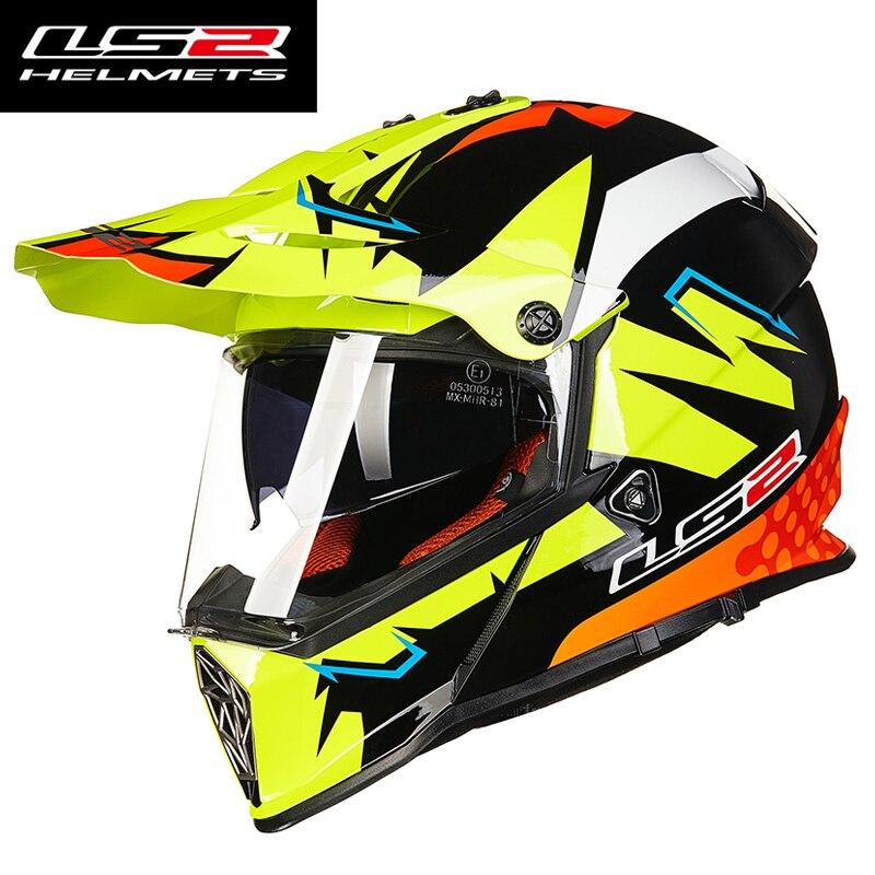 100% натуральная LS2 MX436 бездорожье moto rcycle шлем с солнцезащитным козырьком moto крест-moto крест шлем Двухместный объектив гонки moto ЕЭК доказано
