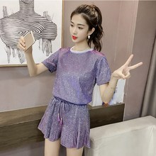 2019 Summer Women Casual Two Piece Set Fashion High Waist Bright Tops And Wide Leg Shorts Office Lace Up Women's Suit 2 piece set women hot summer women s casual cotton sleeveless v neck short tops lace up high waist shorts