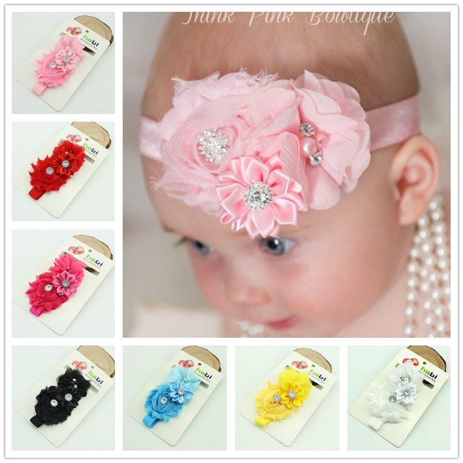 1 Piece MAYA STEPAN Baby Headband Chiffon DIY Toddler Infant Kids Hair Newborn Flower Floral Pearl Crystal Turban Girl Handmade