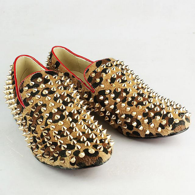 Latest men spike shoes ,leopard print rivets shoes ,designer loafers shoes for men