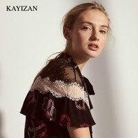 KAYIZAN 2018 Summer Luxurious Black Lace Panel Ruffled Sleeves Blouse Floral Silk Satin Burnout Lace Trim Sweetheart Shirt Top