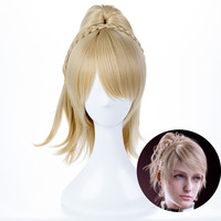 FF15 XV Lunafreya Nox Fleuret Princess Luna Braided Cosplay Final Fantasy XV Wig Synthetic Wigs Light Gold Hair