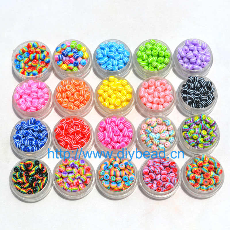 100 pcs DIY Bracelet Accessories Children Handcraft Department 18 Color 6MM Round Shape Resin Stripe Beads jewelry Findings