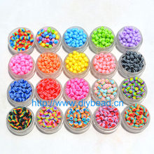100 Pcs DIY Gelang Aksesoris Anak Kerajinan Departemen 18 Warna 6 Mm Round Bentuk Resin Garis Beads Perhiasan Temuan(China)